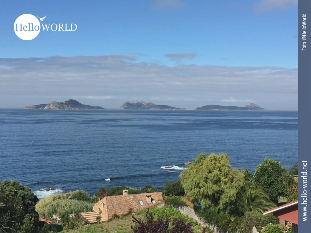 Dieses Foto von der siebten Camino Portugues Etappe zeigt den Blick, den man abseits der Küste auf den Atlantik hat.