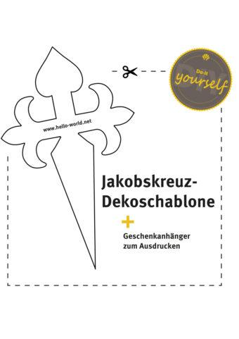 Hier sieht man das Produktbild zur Jakobskreuz-Dekoschablone zum Ausdrucken und Ausschneiden.