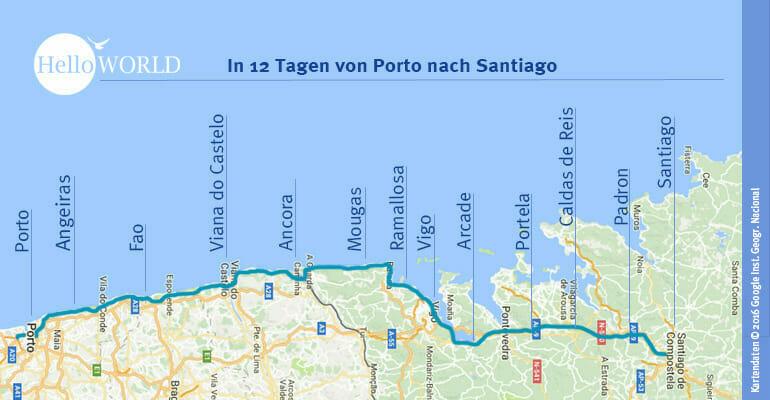 Das Bild zeigt die Etappen des Jakobsweg Caminho Portugues.