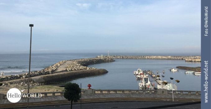 Startpunkt der fünften Camino Portugues Etappe war dieser kleine Hafen von Ancora, den man auf diesem Bild sieht.