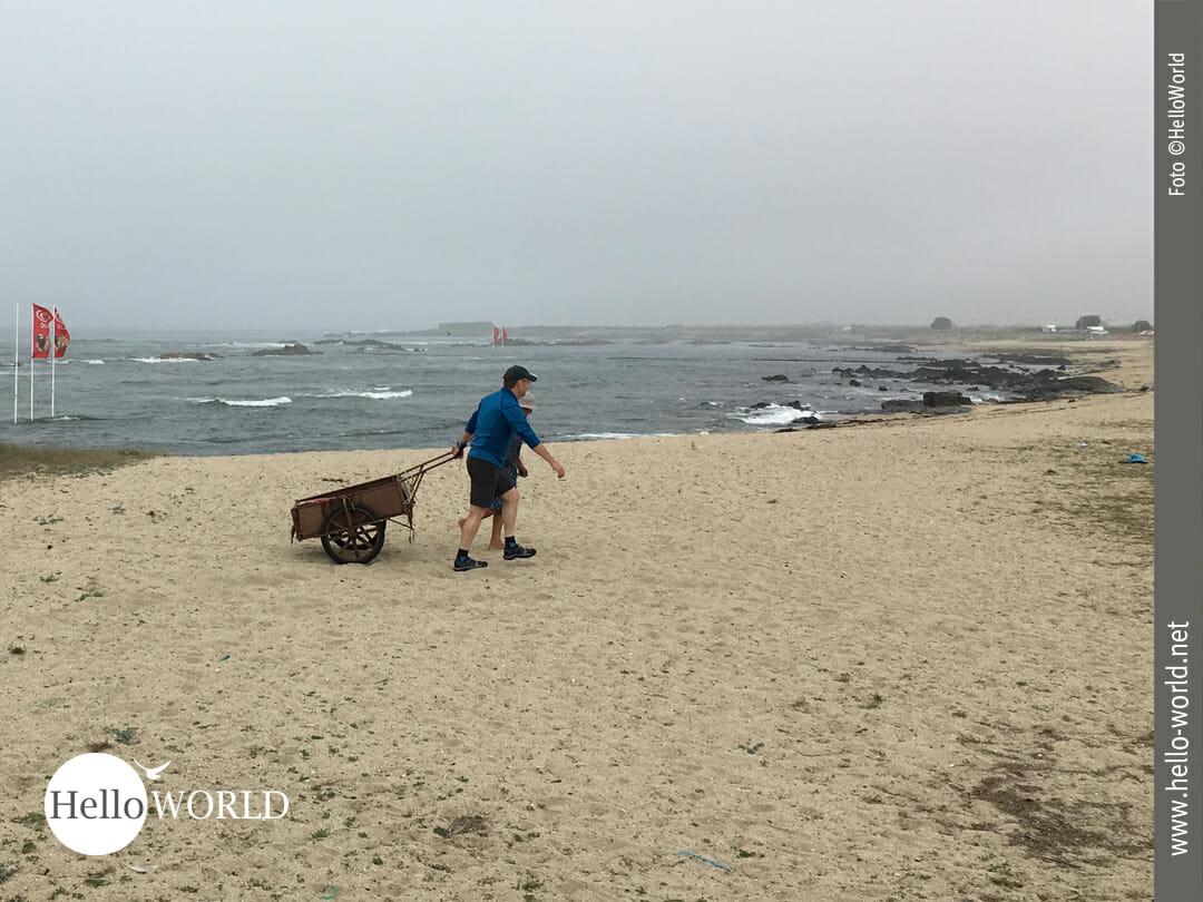 Dieses Bild von der vierten Camino Portugues Etappe zeigt Nico wie er den Karren für eine alte Frau am Strand entlang zieht.