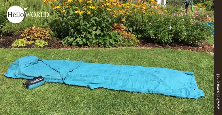 Relativ preiswert, sehr leicht und mit geruchsloser Insektenschutzimpägnierung: das Travel Sheet/Insect shield von Cocoon.