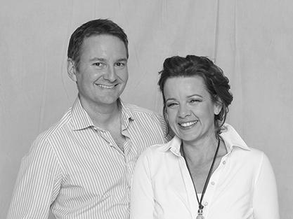 Auf diesem Schwarzweiß-Foto sieht man die Profile von Nico Marcuz und Andrea Brändli.