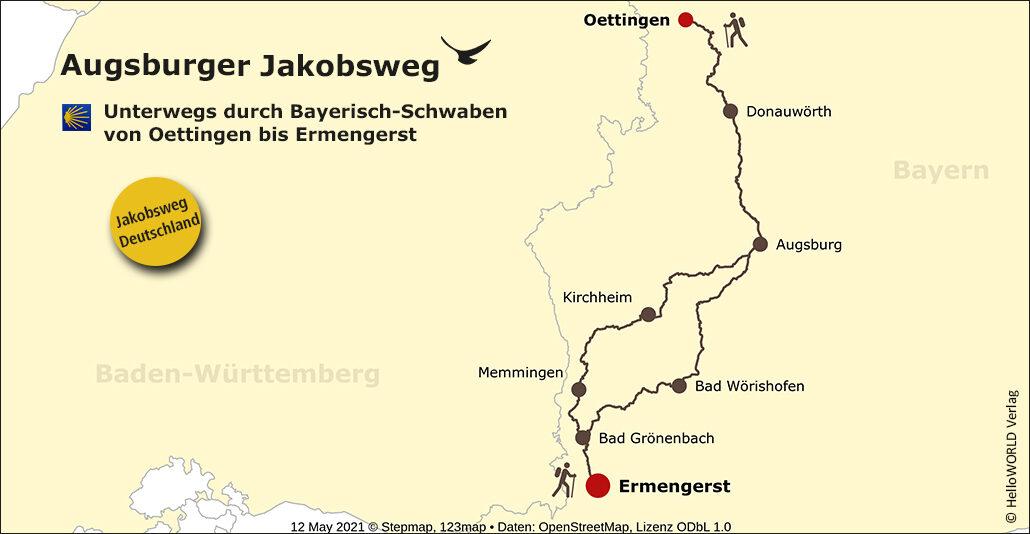 Hier sieht man eine Landkarte mit dem Routenverlauf des Augsburger Jakobsweges.