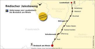 Hier sieht man die Karte des Badischen Jakobsweges mit seinen drei Teilabschnitten Nord, Mitte und Süd.