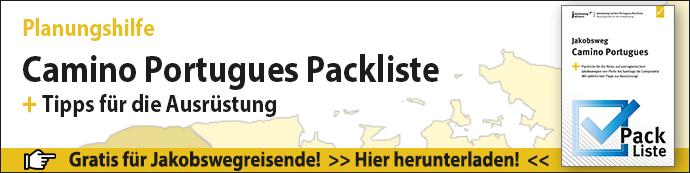 Hier sieht man den Werbebanner für die Camino Portugues Packliste.