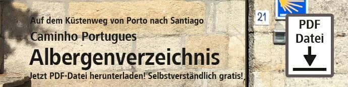 Der Caminho Portugues Albergenverzeichnis-Download-Banner steht auf der HelloWorld-Webseite.