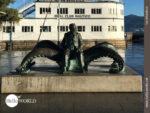 Monument am Rande der Pilgerroute durch Vigo