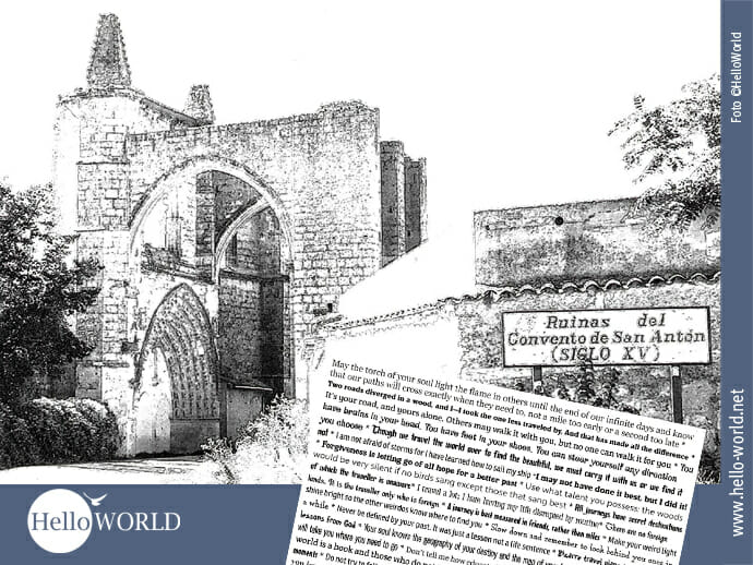 """Die Postkarte zeigt auf der Vorderseite eine schwarz-weiß-Zeichnung der Ruinas del Convento de San Anton. Hinten ist sie voll """"favorite quotes"""" unserer Mitpilgerin Kerri."""
