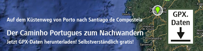 Dies ist der Banner zum Download der Jakobsweg Caminho Portugues gpx-Dateien.