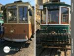 Alte historische Straßenbahnen in Porto
