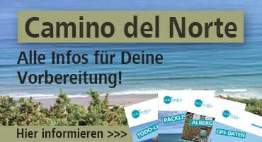 """Dieser Banner macht auf die Camino del Norte Seite """"Alle Infos für die Vorbereitung"""" aufmerksam."""