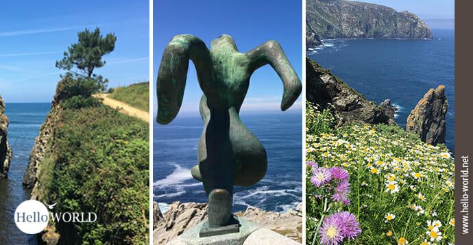 Hier sieht man Bilder vom Camino del Norte in Galicien wie zum Beispiel Küstenabschnitte und in der Mitte eine große Skulptur.