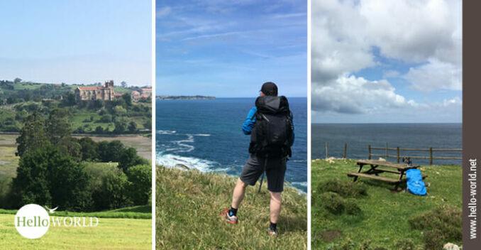 Hier sind drei Bilder vom Camino del Norte in Kantabrien abgebildet, in der Mitte ein Mann, links eine Ortschaft, rechts eine Bank am Meer.