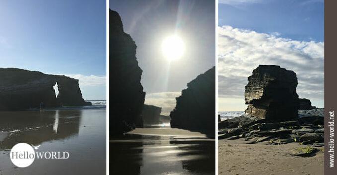 Auf diesem Foto sind drei Bilder vom Praia das Catedrais mit seinen riesigen Felsen, an denen der Camino del Norte vorbeiführt.