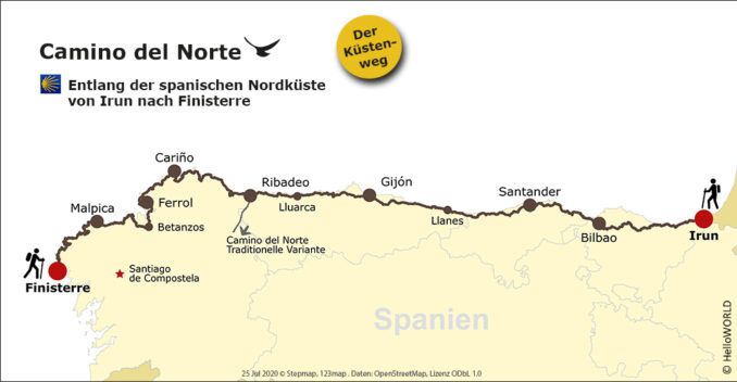 Hier sieht man die Karte mit der Route des Camino del Norte.