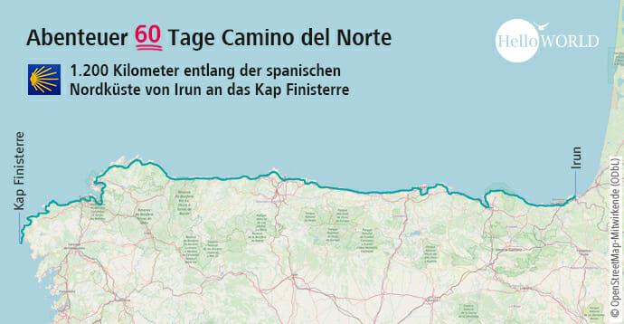 Hier sieht man den Streckenverlauf des Camino del Norte.