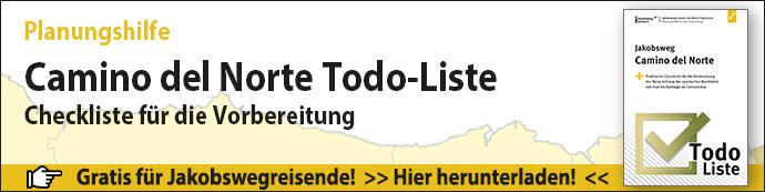 Das ist der Werbebanner für die Camino del Norte Todo-Liste.