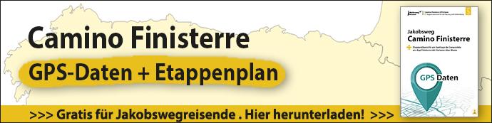 Hier sieht man einen Banner mit dem Schriftzug Camino Finisterre GPS-Daten und Etappenplan sowie einer Abbildung des PDF-Dokumentes zum Download.