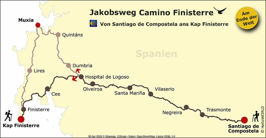 Hier sieht man die Karte des Camino Finisterre mit der Route von Santiago de Compostela ans Ende der Welt.
