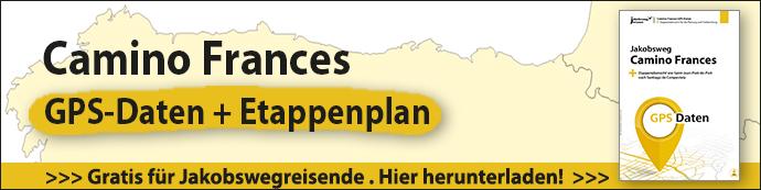 Hier sieht man den Download-Banner für die GPS Daten zum Camino Frances.