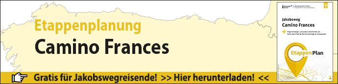 Werbebanner für den Etappenplan Camino Frances mit Abbildung des Titels.