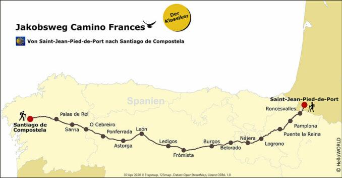 Diese Karte zeigt den Weg des Camino Frances von Saint-Jean-Pied-de-Port bis nach Santiago.