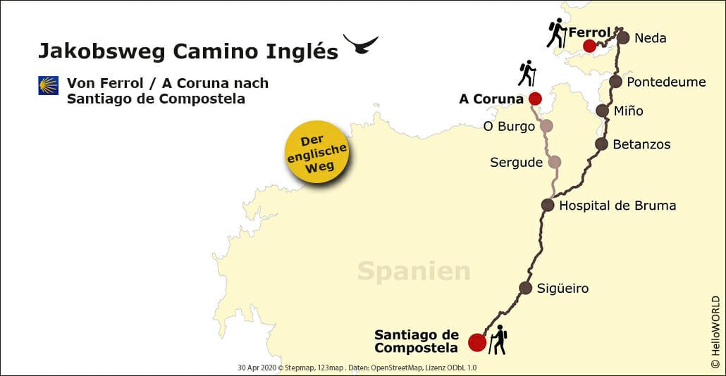 Hier sieht man den Wegverlauf des Camino Ingles von Ferrol und alternativ von A Coruna aus auf einer Karte eingezeichnet.