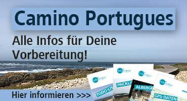 """Dieser Banner macht auf die Camino Portugues Seite """"Alle Infos für die Vorbereitung"""" aufmerksam."""