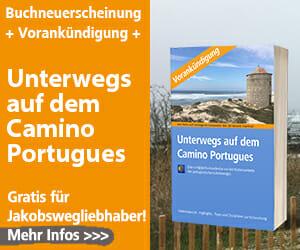 Hier sieht man den Titel des Buches Unterwegs auf dem Camino Portugues.