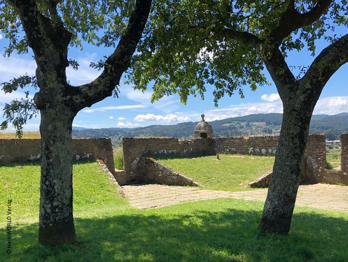 Hier sieht man ein Stück der mittelalterlichen Festung in Valenca, Portugal, mit Bäumen im Vordergrund und dahinter blauer Himmel.