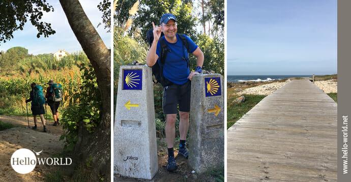 Das Bild zeigt drei Fotos vom Camino Portugues da Costa, dem Küstenweg.