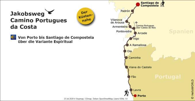 Auf dieser Karte sieht man den Wegverlauf des Camino Portugues da Costa.