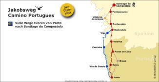 Die Karte zeigt einen Gesamtüberblick zu den verschiedenen Routen des portugiesischen Jakobsweges.