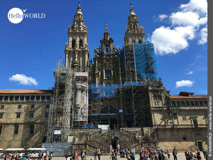Endpunkt des Camino Portugues Küstenwegs: Kathedrale in Santiago de Compostela