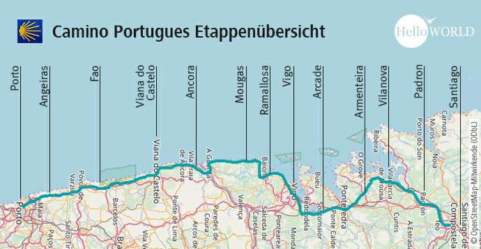 Hier sieht man die Etappenübersicht des Camino Portugues Küstenwegs.