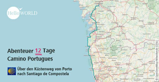 Hier sieht man den groben Streckenverlauf des Camino Portugues da Costa.