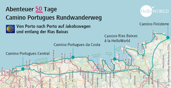 Auf dieser Karte ist der Streckenverlauf des Camino Portugues Rundwanderwegs eingezeichnet.