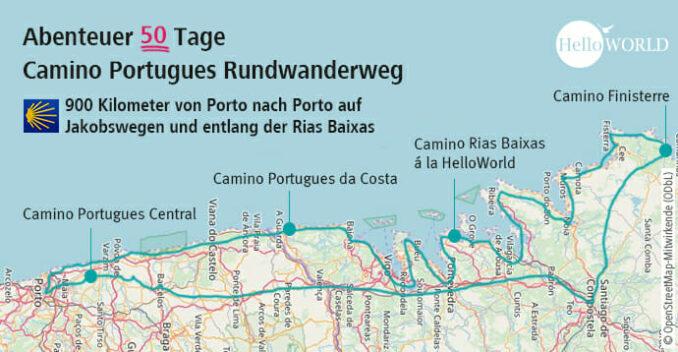 Die Karte zeigt den Tourenverlauf des Camino Portugues Rundwanderwegs vom Porto nach Porto.