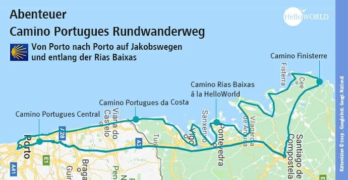 Das Bild zeigt die Karte zu den Camino Portugues Rundwanderweg Etappen.
