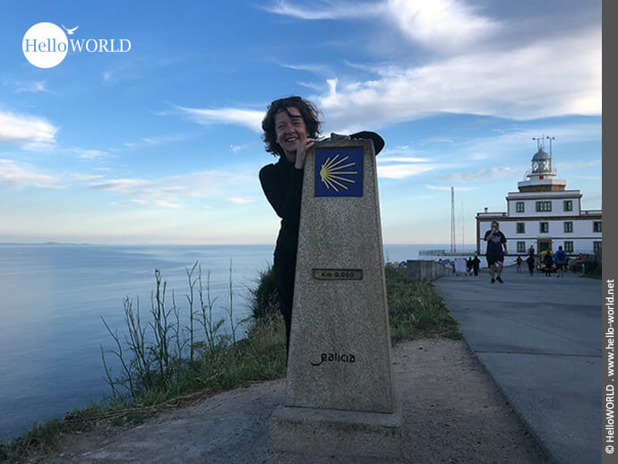 Ziel vieler Pilger: der letzte Kilometerstein, der Kilometer Null