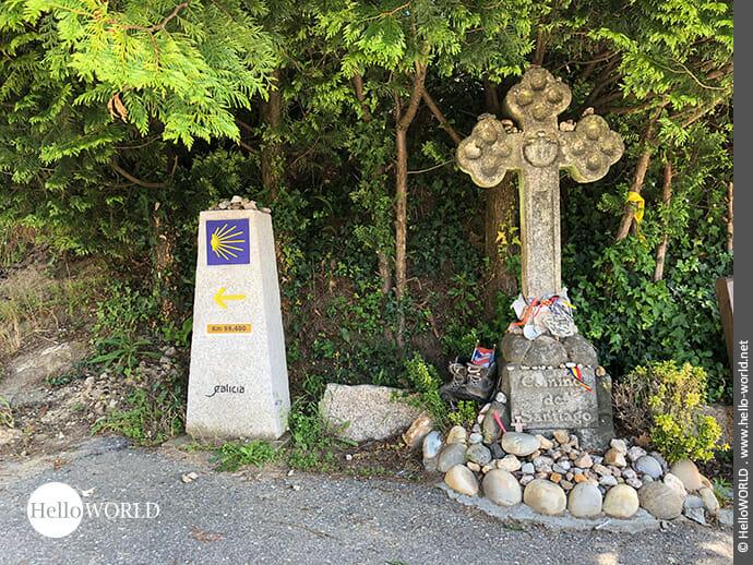 Schmuckes Kreuz am Camino Portugues Rundwanderweg