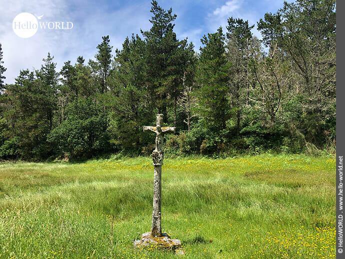 Kruzifix mitten auf der Wiese am Rego das Neves