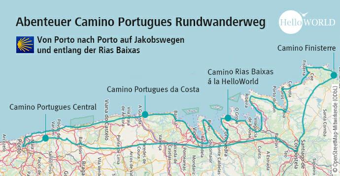Hier sieht man die Karte mit dem Streckenverlauf des Camino Portugues Rundwanderwegs.