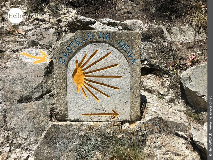 Gelbes Jakobswegzeichen auf dem Camino Portugues Rundwanderweg