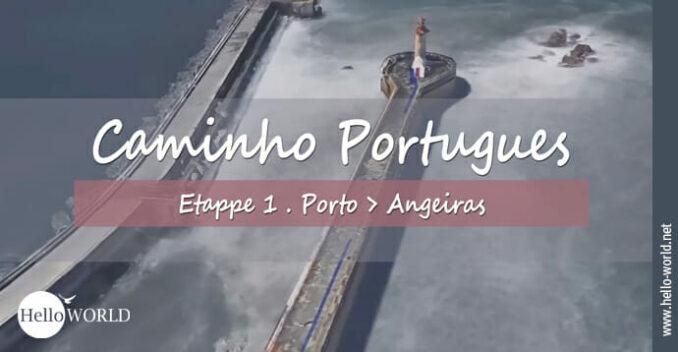 Hier sieht man die Luftaufnahme eines Leuchtturms aus dem Camino Portugues Video Etappe 1 von Porto nach Angeiras.