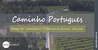 Das Bild zeigt einen Streckenabschnitt aus dem Camino Portugues Video der Etappe 10 von Armenteira nach Vilanova de Arousa.