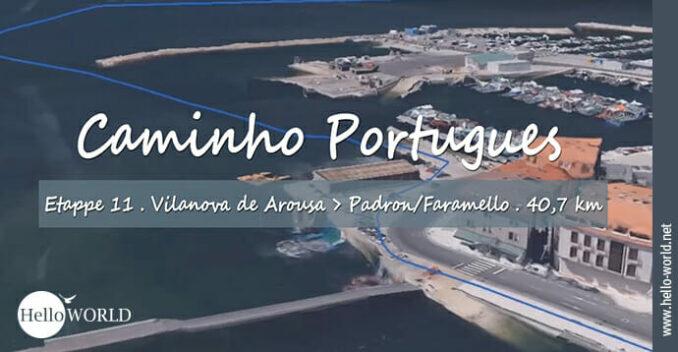 Hier sieht man eine Hafenaufnahme aus dem Camino Portugues Video Etappe 11, die von Vilanova über den Wasserweg nach Padron führt.