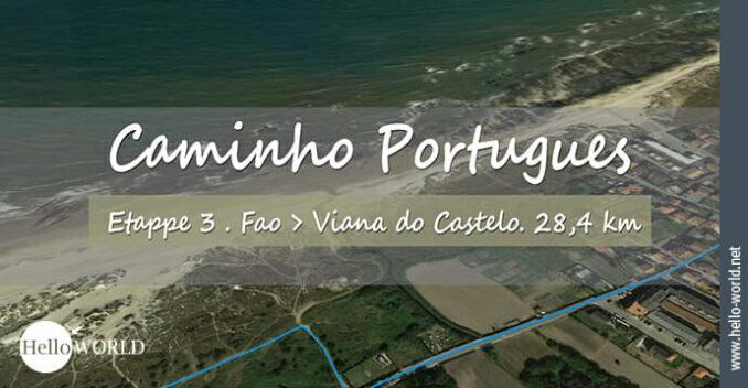 Hier sieht man einen Wegausschnitt aus dem Camino Portugues Video Etappe 3 von Fao nach Viana do Castelo.