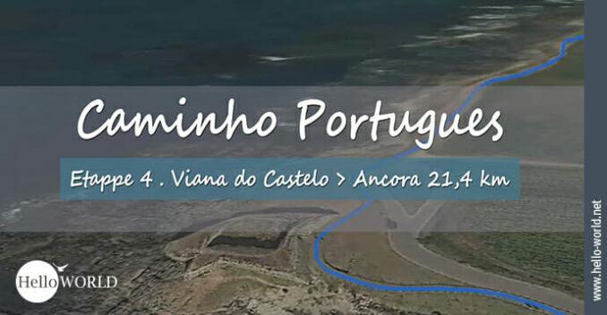 Hier sieht man einen Streckenabschnitt aus dem Camino Portugues Video Etappe 4 von Viana do Castelo nach Ancora.